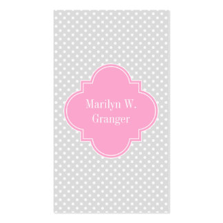 Lt Gray Wht Polka Dots Pink Quatrefoil 3 Monogram Pack Of Standard Business Cards