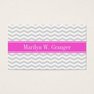 Lt Gray Wht Thin Chevron Hot Pink Name Monogram