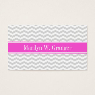 Lt Gray Wht Thin Chevron Hot Pink Name Monogram Business Card
