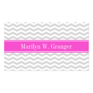Lt Gray Wht Thin Chevron Hot Pink Name Monogram Pack Of Standard Business Cards