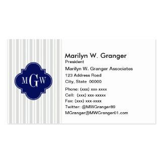 Lt Gray Wht UE Stripe Navy Quatrefoil 3 Monogram Pack Of Standard Business Cards