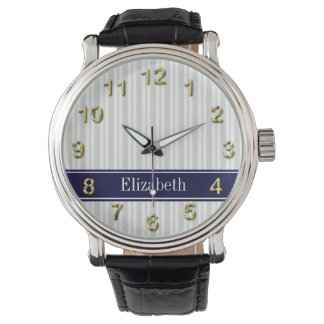 Lt Gray Wht Uneven Stripe Navy Blue Name Monogram Watches