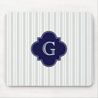Lt Gray Wht Uneven Stripe Navy Quatrefoil Monogram Mouse Mat