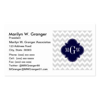 Lt Gray Wt Chevron Navy Blue Quatrefoil 3 Monogram Pack Of Standard Business Cards