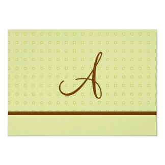 Lt. Green and Brown Wedding with Monogram 13 Cm X 18 Cm Invitation Card