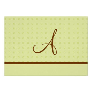 Lt. Green and Brown Wedding with Monogram Personalized Invitation