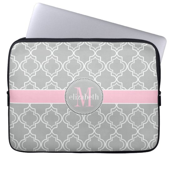 Lt Grey Pink White Moroccan Quatrefoil Monogram Laptop