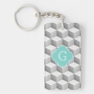 Lt Grey White 3D Look Cubes Aqua Monogram Double-Sided Rectangular Acrylic Key Ring