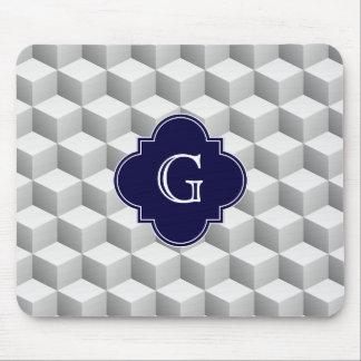 Lt Grey White 3D Look Cubes Navy Custom Monogram Mouse Pad