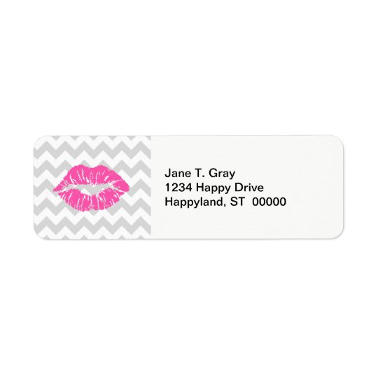 Lt Grey White Chevron, Pink Lipstick Kiss Return Address Label