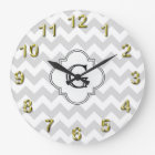 Lt Grey White Chevron White Quatrefoil Monogram Large Clock