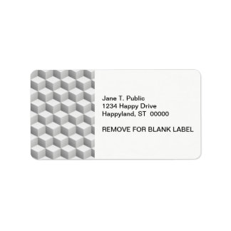 Lt Grey White Shaded 3D Look Cubes Address Label