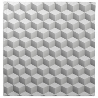 Lt Grey White Shaded 3D Look Cubes Cloth Napkins