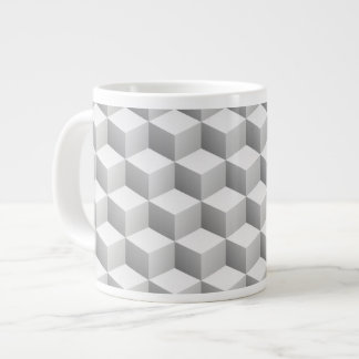 Lt Grey White Shaded 3D Look Cubes Large Coffee Mug
