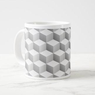 Lt Grey White Shaded 3D Look Cubes Jumbo Mug