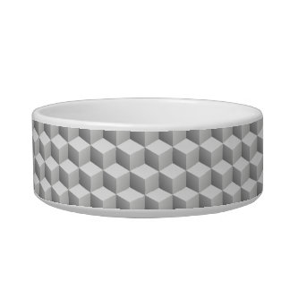 Lt Grey White Shaded 3D Look Cubes Pet Food Bowls