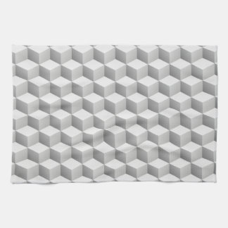 Lt Grey White Shaded 3D Look Cubes Tea Towel