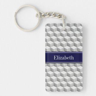 Lt Grey Wht 3D Look Cubes Navy Blue Name Monogram Double-Sided Rectangular Acrylic Keychain