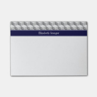 Lt Grey Wht 3D Look Cubes Navy Blue Name Monogram Post-it Notes