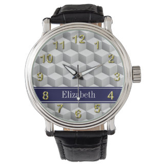 Lt Grey Wht 3D Look Cubes Navy Blue Name Monogram Wrist Watches