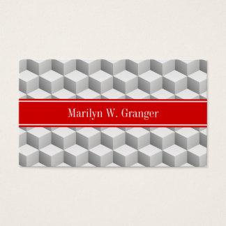 Lt Grey Wht 3D Look Cubes Red Name Monogram