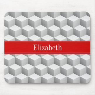 Lt Grey Wht 3D Look Cubes Red Name Monogram Mouse Mat