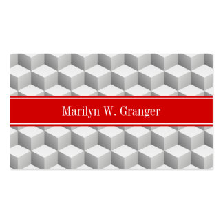 Lt Grey Wht 3D Look Cubes Red Name Monogram Pack Of Standard Business Cards