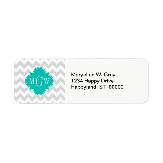 Lt Grey Wht Chevron Teal Quatrefoil 3 Monogram Return Address Label