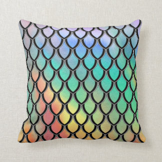 Lt Multicolor Dragon Scale Watercolor Wash Pillow Throw Cushions