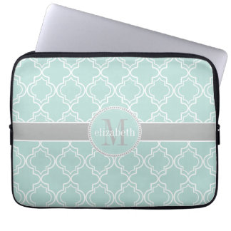 Lt Teal Gray White Moroccan Quatrefoil Monogram Laptop Sleeve