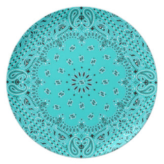 Lt Turquoise Paisley Western Bandana Scarf Print Plate