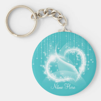 Lt Turquoise Sparkly Hearts Keychain