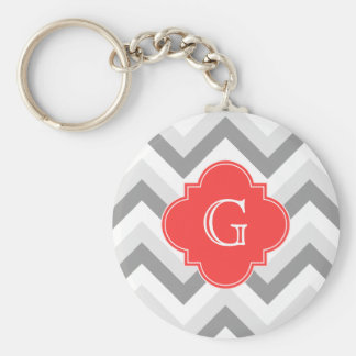 Lt Two Gray Wht Chevron SQ Coral Red Name Monogram Basic Round Button Key Ring