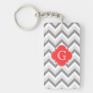 Lt Two Gray Wht Chevron SQ Coral Red Name Monogram Double-Sided Rectangular Acrylic Key Ring