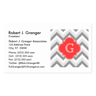Lt Two Gray Wht Chevron SQ Coral Red Name Monogram Pack Of Standard Business Cards
