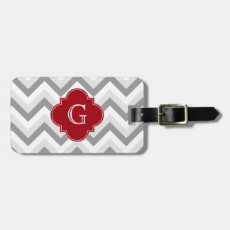 Lt Two Grey White Chevron Cranberry Monogram Luggage Tag