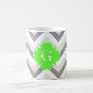 Lt Two Grey White Chevron Lime Quatrefoil Monogram Coffee Mug