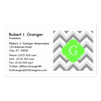 Lt Two Grey White Chevron Lime Quatrefoil Monogram Pack Of Standard Business Cards