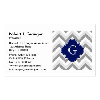 Lt Two Grey White Chevron Navy Monogram Pack Of Standard Business Cards