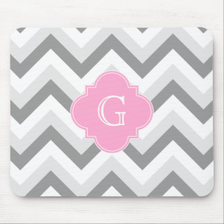 Lt Two Grey White Chevron Pink Quatrefoil Monogram Mouse Mat