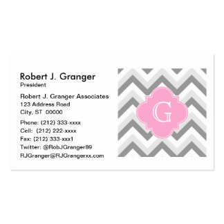 Lt Two Grey White Chevron Pink Quatrefoil Monogram Pack Of Standard Business Cards