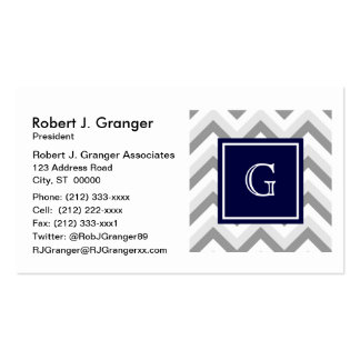 Lt Two Grey White Chevron SQ Navy Monogram Pack Of Standard Business Cards