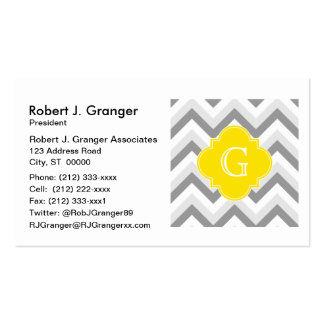 Lt Two Grey White Chevron Yellow Monogram Pack Of Standard Business Cards