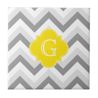 Lt Two Grey White Chevron Yellow Monogram Small Square Tile