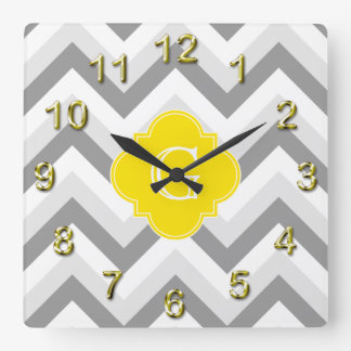 Lt Two Grey White Chevron Yellow Monogram Square Wall Clock