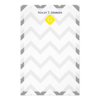 Lt Two Grey White Chevron Yellow Monogram Stationery