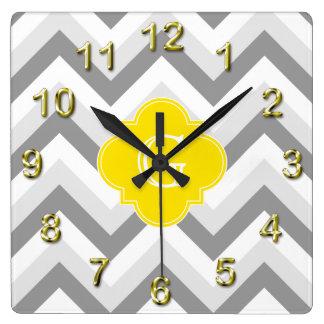 Lt Two Grey White Chevron Yellow Monogram Wall Clock