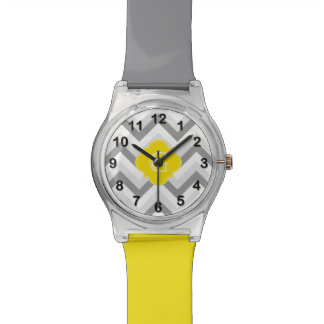 Lt Two Grey White Chevron Yellow Monogram Watch