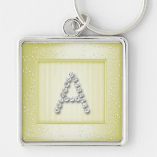 Lt Yellow Shimmer and Sparkle with Monogram Silver-Colored Square Key Ring