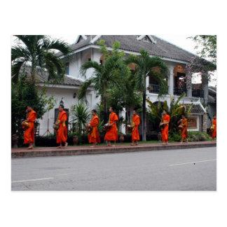 luang alms procession postcard